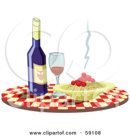 Royalty-Free (RF) Clipart Illustration of a Checkered Table With Wine And Spaghetti by Frisko