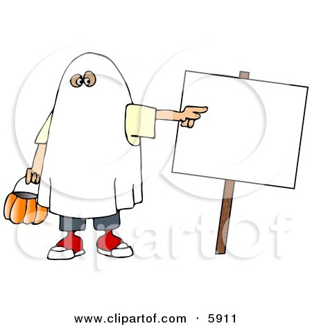 Boy Wearing A Halloween Ghost Costume While Pointing At A Blank Sign Clipart Picture