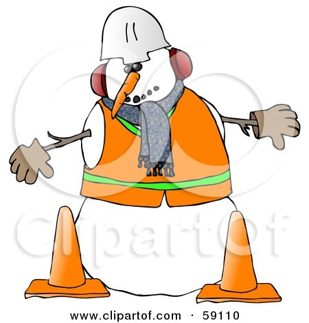 Royalty-Free (RF) Clipart Illustration of a Construction Worker Snowman In Warm Clothes And A Hard Hat, Standing Behind Cones by djart