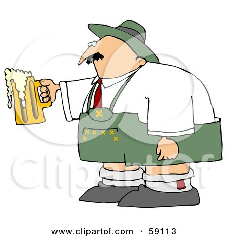 Royalty-Free (RF) Clipart Illustration of an Oktoberfest Man Holding An Overflowing Beer Mug by djart