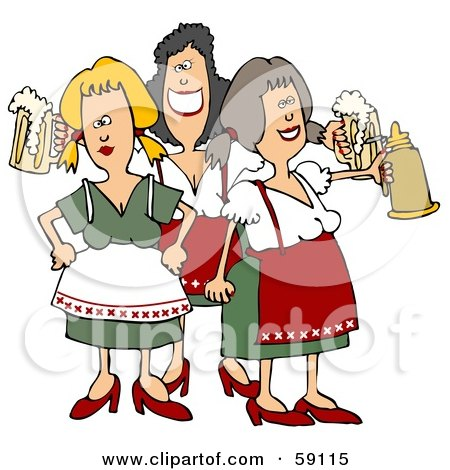 Royalty-Free (RF) Clipart Illustration of a Group Of Three Oktoberfest Ladies With Beer by djart