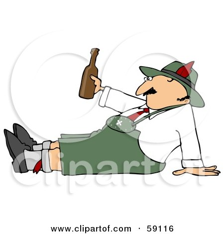 Royalty-Free (RF) Clipart Illustration of an Oktoberfest Man Sitting On The Ground, Holding A Beer Bottle by djart