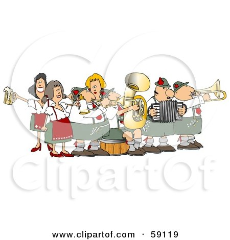 Royalty-Free (RF) Clipart Illustration of a Festive Oktoberfest Band Playing Live Music by djart