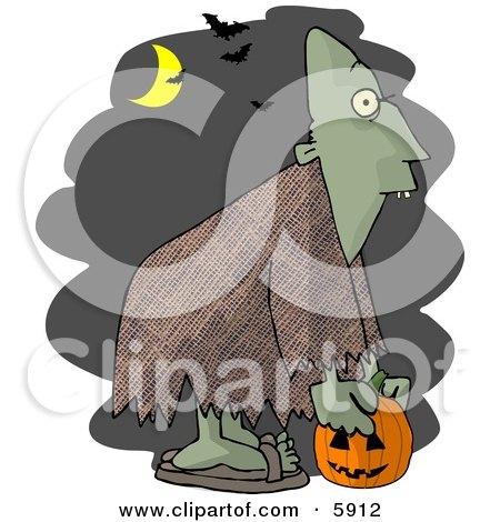 Halloween Ghoul Picking Up a Jack-o-Lantern at Night Clipart Picture by djart