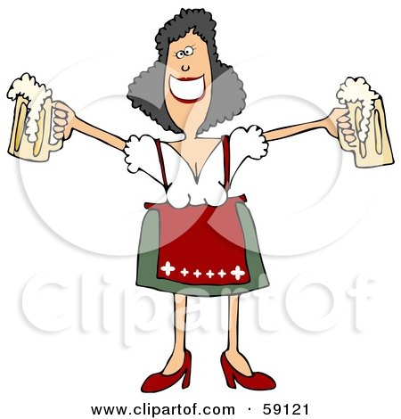 Royalty-Free (RF) Clipart Illustration of a Friendly Oktoberfest Woman Holding Out Two Beer Mugs by djart