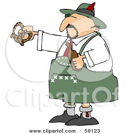 Royalty-Free (RF) Clipart Illustration of an Oktoberfest Man Holding A Beer Bottle And Soft Pretzel by djart