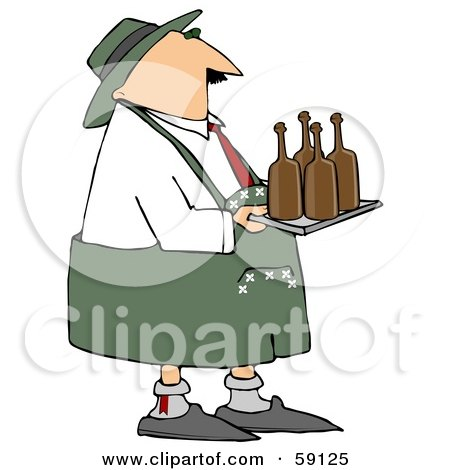 Royalty-Free (RF) Clipart Illustration of an Oktoberfest Man Carrying Brown Beer Bottles On A Tray by djart