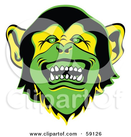 Royalty-Free (RF) Clipart Illustration of an Evil Green Monkey Face With Sharp Teeth by Andy Nortnik