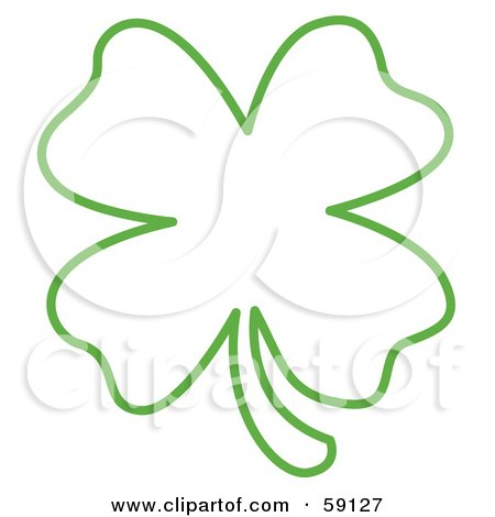 Royalty-Free (RF) Clipart Illustration of a Green Lucky Four Leaf Clover Outline by Andy Nortnik