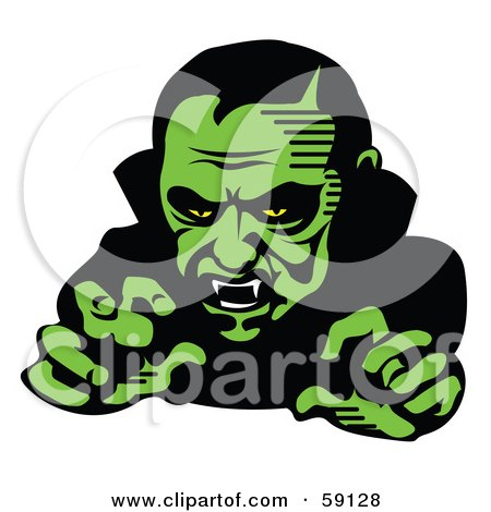 Royalty-Free (RF) Clipart Illustration of a Scary Green Vampire Reaching Outwards by Andy Nortnik