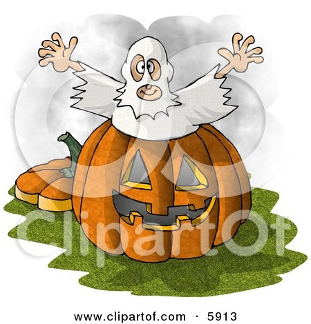 Halloween Ghost Man Jumping Out Of A Pumpkin Clipart Picture