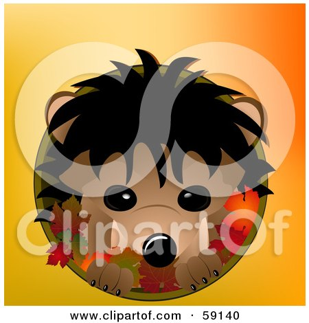 Royalty-Free (RF) Clipart Illustration of a Cute Hedgehog In A Circle With Autumn Leaves On Orange by elaineitalia