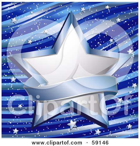 Royalty-Free (RF) Clipart Illustration of a Blank Blue Banner Around A Shining White Star On A Wavy Blue Background With Tiny Chrome Stars by elaineitalia