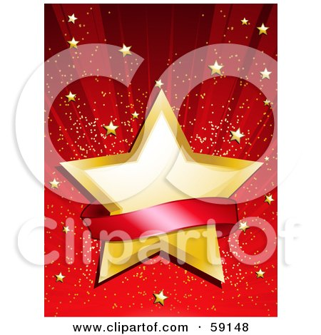 Royalty-Free (RF) Clipart Illustration of a Blank Red Banner Over A Golden Star On A Shining Red Background With Tiny Gold Stars by elaineitalia