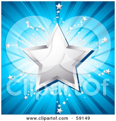 Royalty-Free (RF) Clipart Illustration of a Shiny Chrome Star Over A Shining Blue Background With Tiny Silver Stars by elaineitalia