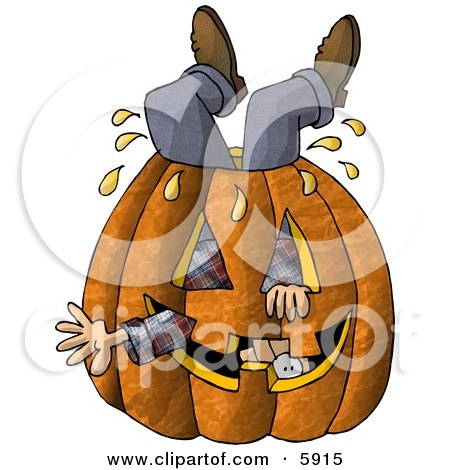 Man Stuck Inside a Big Halloween Pumpkin with a Carved Face Clipart Picture by djart
