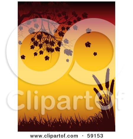 Royalty-Free (RF) Clipart Illustration of a Tree Branch, Falling Leaves, Grass And Wheat Silhouetted Against Orange by elaineitalia