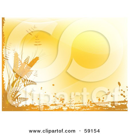 Royalty-Free (RF) Clipart Illustration of an Orange Background Bordered By Grunge And Wheat by elaineitalia