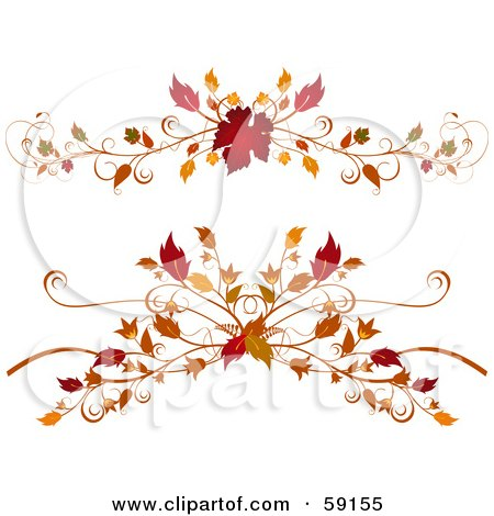 Royalty-Free (RF) Clipart Illustration of a Digital Collage Of Two Elegant Autumn Foliage Flourishes On White by elaineitalia
