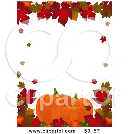 Royalty-Free (RF) Clipart Illustration of an Autumn Border Of Colorful Leaves Around White With Pumpkins Along The Lower Bottom by elaineitalia