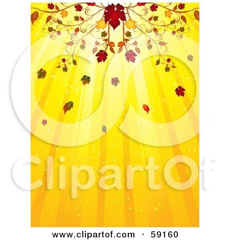 Royalty-Free (RF) Clipart Illustration of an Elegant Fall Flourish Above A Yellow Background Of Light Rays by elaineitalia