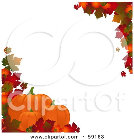 Royalty-Free (RF) Clipart Illustration of an Autumn Border Of Colorful Leaves Around White With Pumpkins Along The Lower Left by elaineitalia