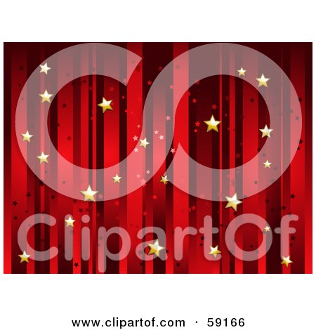 Royalty-Free (RF) Clipart Illustration of a Horizontal Background Of Vertical Red Stripes And Floating Gold Stars by elaineitalia