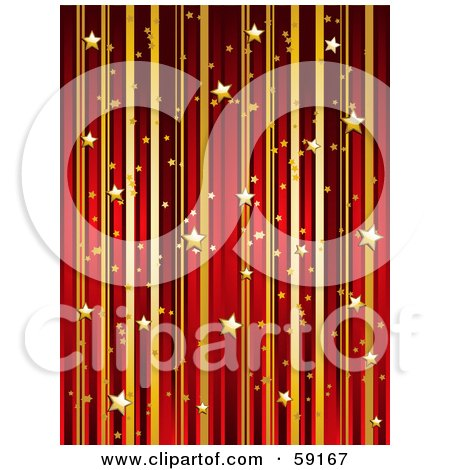 Royalty-Free (RF) Clipart Illustration of a Vertical Background Of Gold And Red Stripes And Floating Gold Stars by elaineitalia