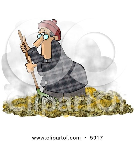 Man Raking Dead Leaves On The Ground During Autumn Season Clipart Picture