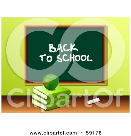 Royalty-Free (RF) Clipart Illustration of a Green Apple Resting On A Stack Of Books In Front Of A Back To School Chalk Board by elaineitalia