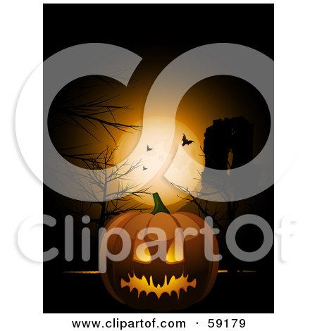 Royalty-Free (RF) Clipart Illustration of a Spooky Halloween Pumpkin Under A Full Moon With Vampire Bats by elaineitalia