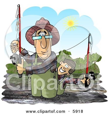 Grandpa & Grandson Fishing in a River On a Sunny Day Clipart Picture by djart