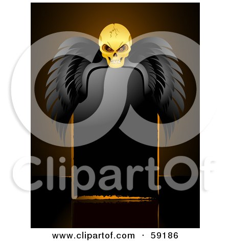 Royalty-Free (RF) Clipart Illustration of a Creepy Skull With Black Wings, Resting Over A Blank Black Sign by elaineitalia