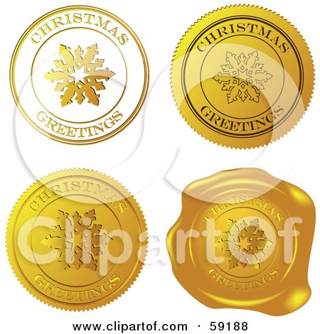 Royalty-Free (RF) Clipart Illustration of a Digital Collage Of Four Golden Christmas Greeting Seals And Stamps by Eugene