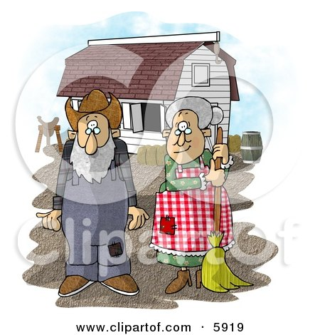 Farmer Wife and Husband Standing In Front of a Barn Posters, Art Prints