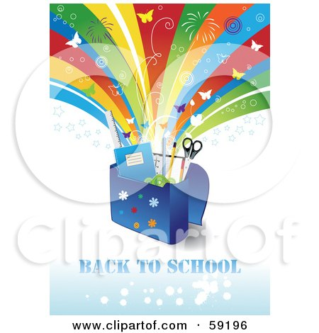 Back To School Background With Supplies In A Bag Under A Shooting Rainbow With Fireworks And Butterflies Posters, Art Prints