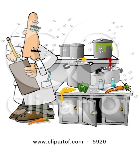 Food Health Inspector Inspecting a Dirty Kitchen at a Restaurant Clipart Picture by djart