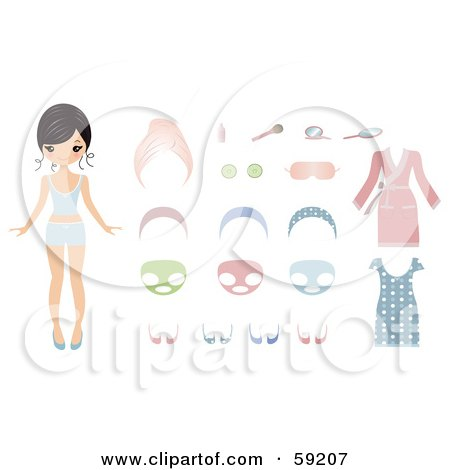 Royalty-Free (RF) Clipart Illustration of a Paper Doll Woman Shown With Facial Masks, Clothes And Cosmetics by Melisende Vector