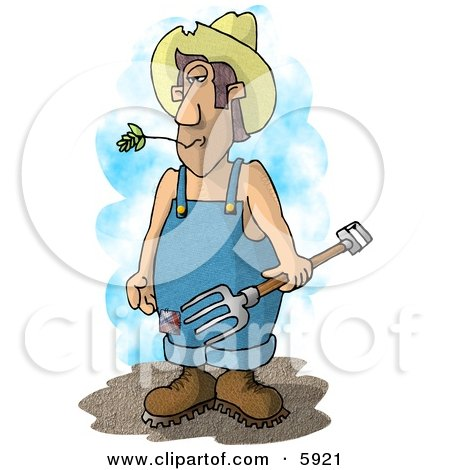 Farmer with a Pitchfork Wearing Coveralls and a Cowboy Hat Posters, Art Prints