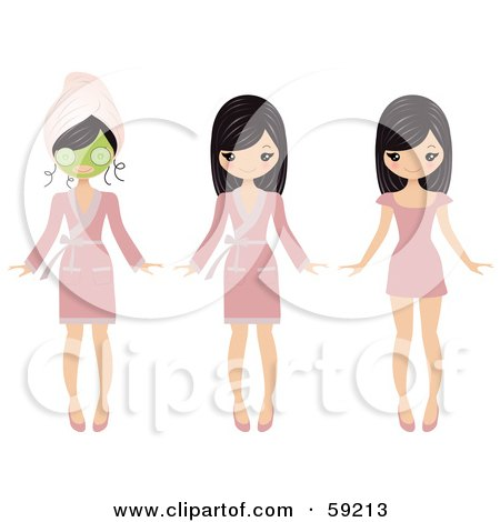 Royalty-Free (RF) Clipart Illustration of a Pretty Girl Shown Wearing A Face Mask, A Robe And Then In A Dress by Melisende Vector