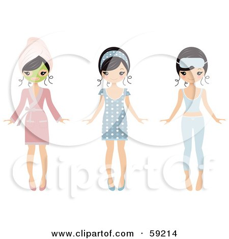 Royalty-Free (RF) Clipart Illustration of a Pretty Young Woman Shown Wearing A Face Mask And Pajamas by Melisende Vector