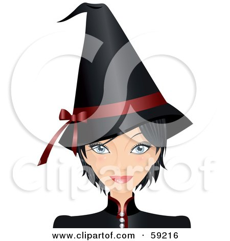 Royalty-Free (RF) Clipart Illustration of a Woman Dressed In A Black Halloween Witch Costume by Melisende Vector