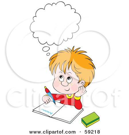 Clipart Blond School Boy Reading A Book At His Desk ...