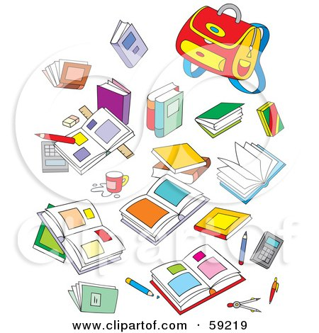 Royalty-Free (RF) Clipart Illustration of a Mess Of School Books And Supplies by Alex Bannykh