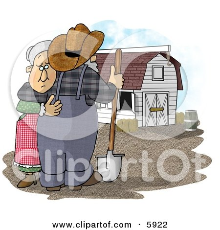 Sad Farmer Wife Hugging Her Husband Who Is Looking at Their Barn Clipart Picture by djart