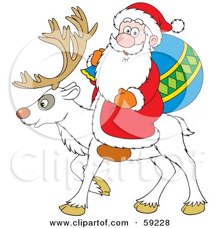 Royalty-Free (RF) Clipart Illustration of a Santa Riding On The Back Of A White Reindeer by Alex Bannykh