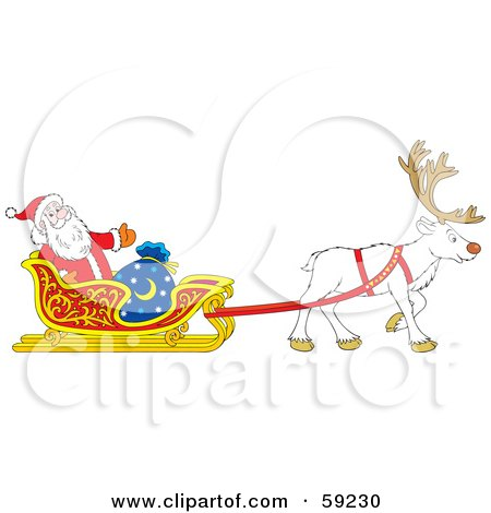Royalty-Free (RF) Clipart Illustration of a White Reindeer Pulling Santa In His Sleigh by Alex Bannykh