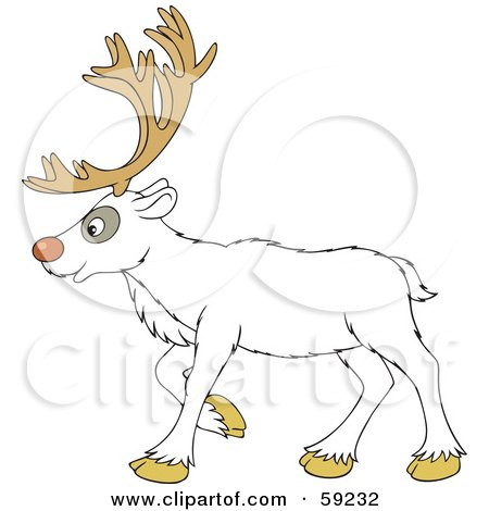 Royalty-Free (RF) Clipart Illustration of a Walking White Reindeer In Profile by Alex Bannykh