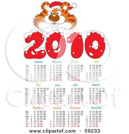 Royalty-Free (RF) Clipart Illustration of a 2010 Year Tiger Calendar by Alex Bannykh