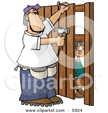 Boy Watching a Man Build a Wooden Fence Posters, Art Prints